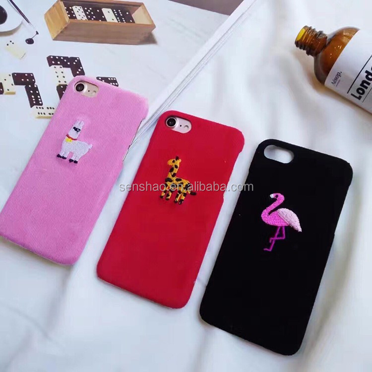 The Coming Fashion Cartoon Animal Embroidery Giraffe Creative Personality Flamingo Flannel Phonecase Cover For Iphone6/7