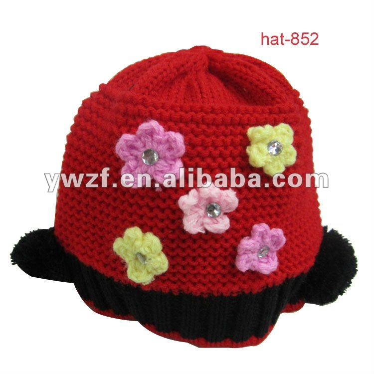 knit children hat with flower childrens crochet hats