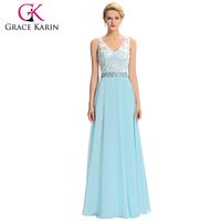 Grace Karin Full-Length Sleeveless V-Neck New Party Gowns Long Chiffon Light Blue Evening Dress 8 Size US 2~16 GK000039-1