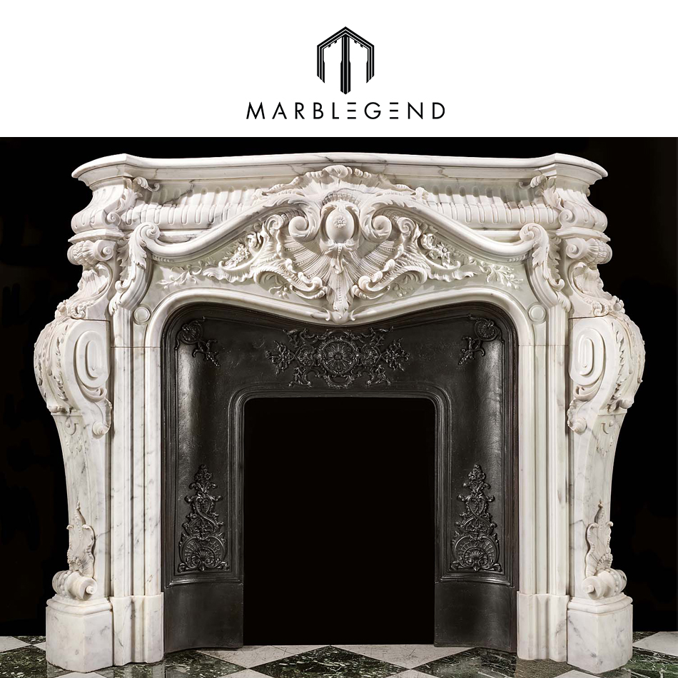 Luxury Hand Carved Best Quality Natural White Marble Fireplace Mantel