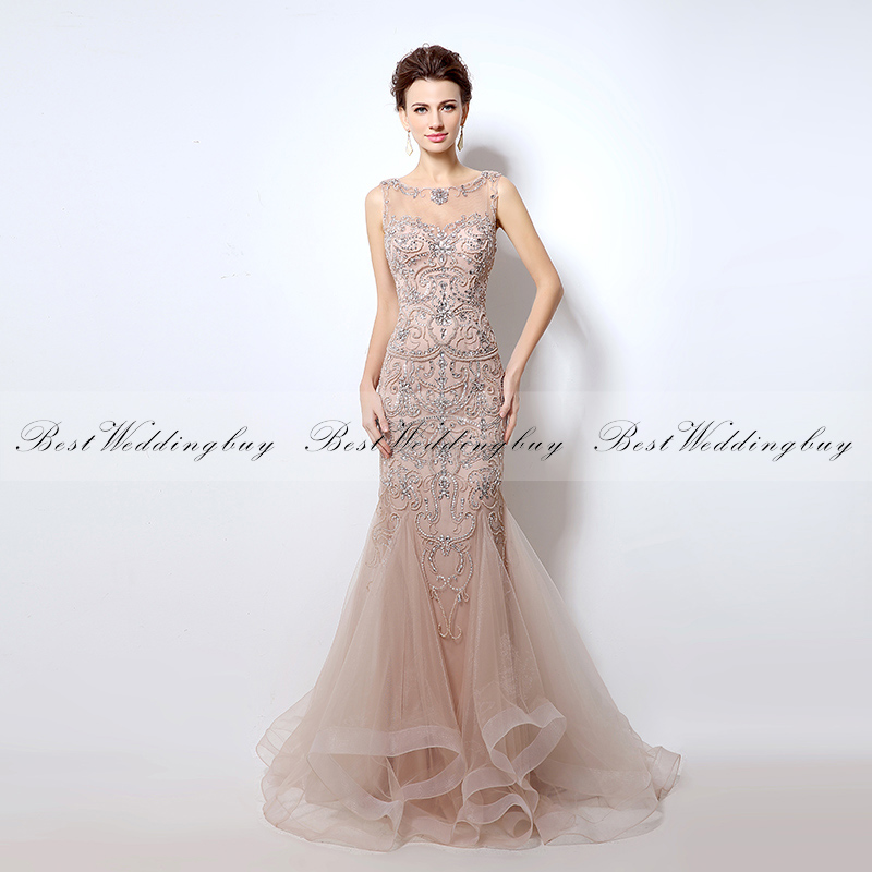 In-Stock Gorgeous Heavy Beaded Blush Tulle Mermaid Evening Gowns Designer Evening <strong>Dresses</strong> LX006