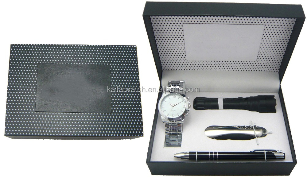 wholesale cheap promotional gifts for men torch,knife,pen, watch packaging box set
