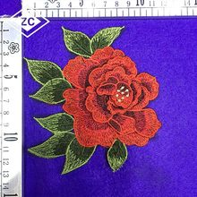 2018 Wholesale new design floral lace rose fabric applique embroidery patch flower