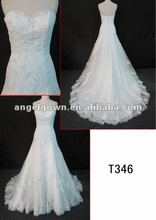 graceful lace beaded wedding gown in hot sell with discount