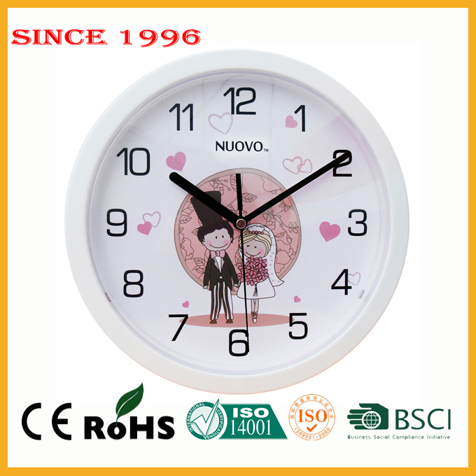 Plastic 25 cm OEM classical gift clock wedding decoration