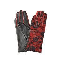 Sexy red rose bud silk ladies sheepskin leather gloves