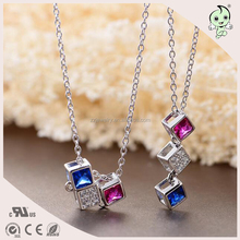 Micro Pave Colorful Zircon Combination Solid Square 45cm 925 Sterling silver Necklace