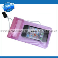 Online shopping clear mobile phone pvc waterproof bag with sling