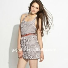 3D Zebra Pattern Backless Brown Casual Fashion Dress 2012