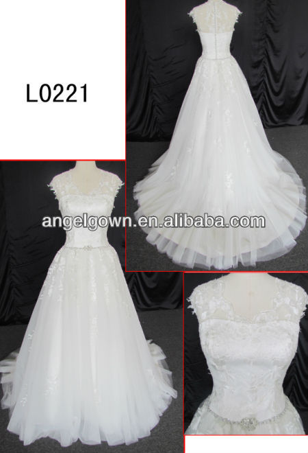 2013 Elegant Lace New Model Wedding Dress With Beaded Waist L0021