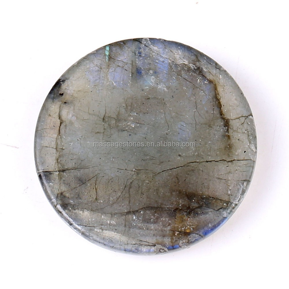 Wholesale Labradorite Crystal Healing Beautiful Worry Stone Crafts Round Flat Stone