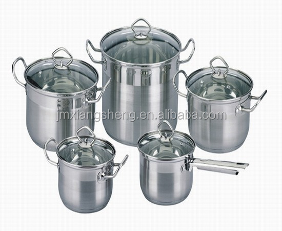 10pcs non battery operated society german cookware set stainless steel