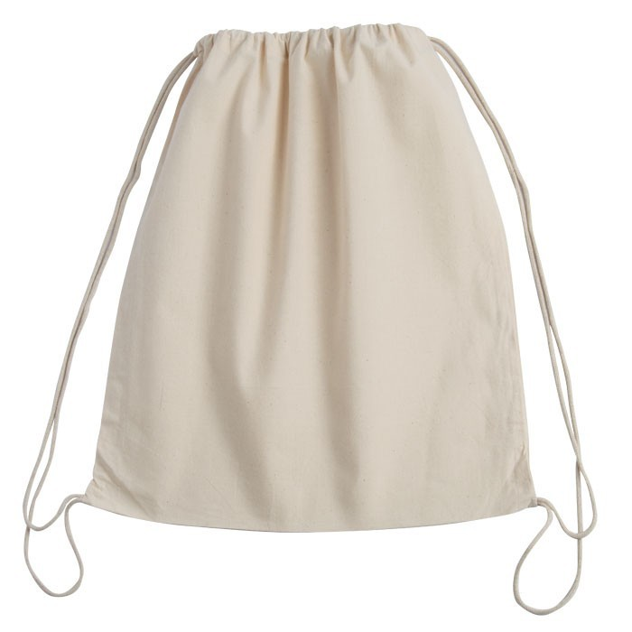 100% Cotton Promotional Drawstring Pouch Bag - Natural - LARGE