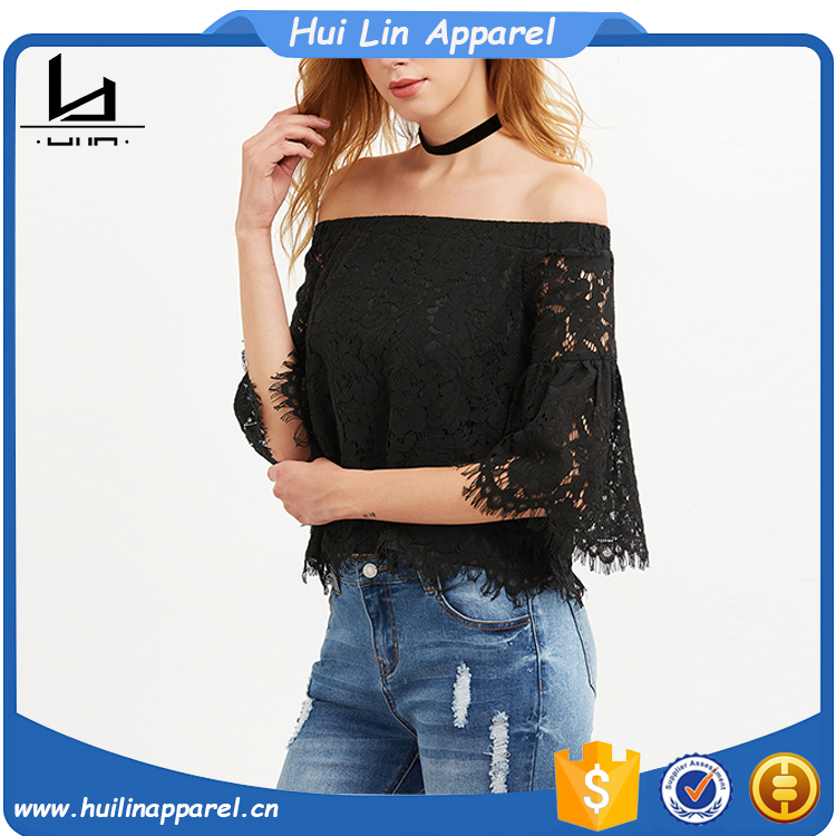 Black Off The Shoulder Bell Sleeve Floral Elegant Lace Tops Blouses
