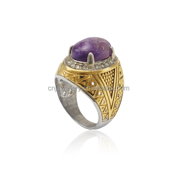 Factory wholesale fashion antique 316l stainless steel rings with big purple stone