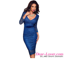 Wholesale Sexy royal blue Lace Three Quarters Sleeve evening dress