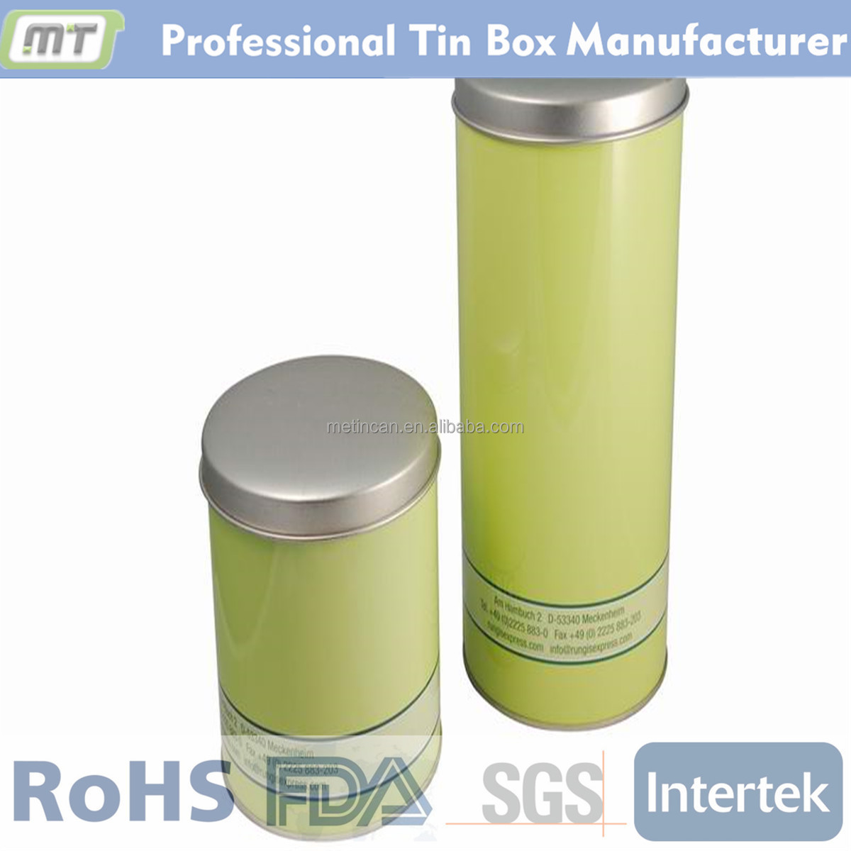Metal tube tin box with graphics print for whisky package