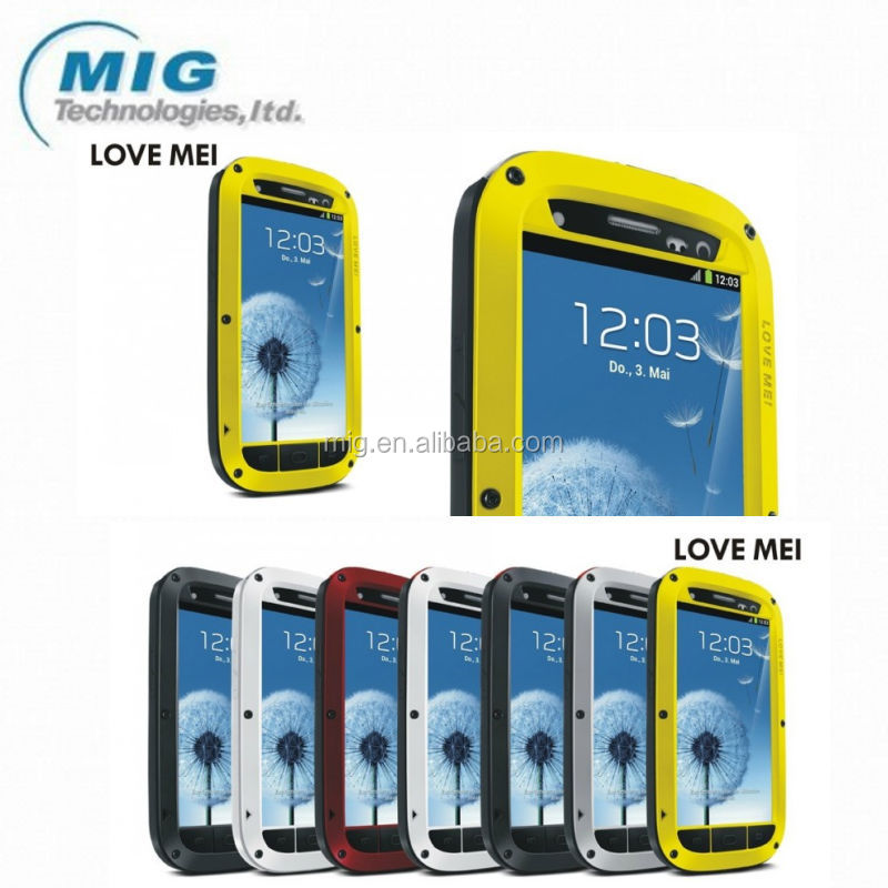 Hot Selling LOVE MEI Powerful 7 colors Mobile phone case for Samsung galaxy S3 , Shockproof Waterproof Rugged Gorilla