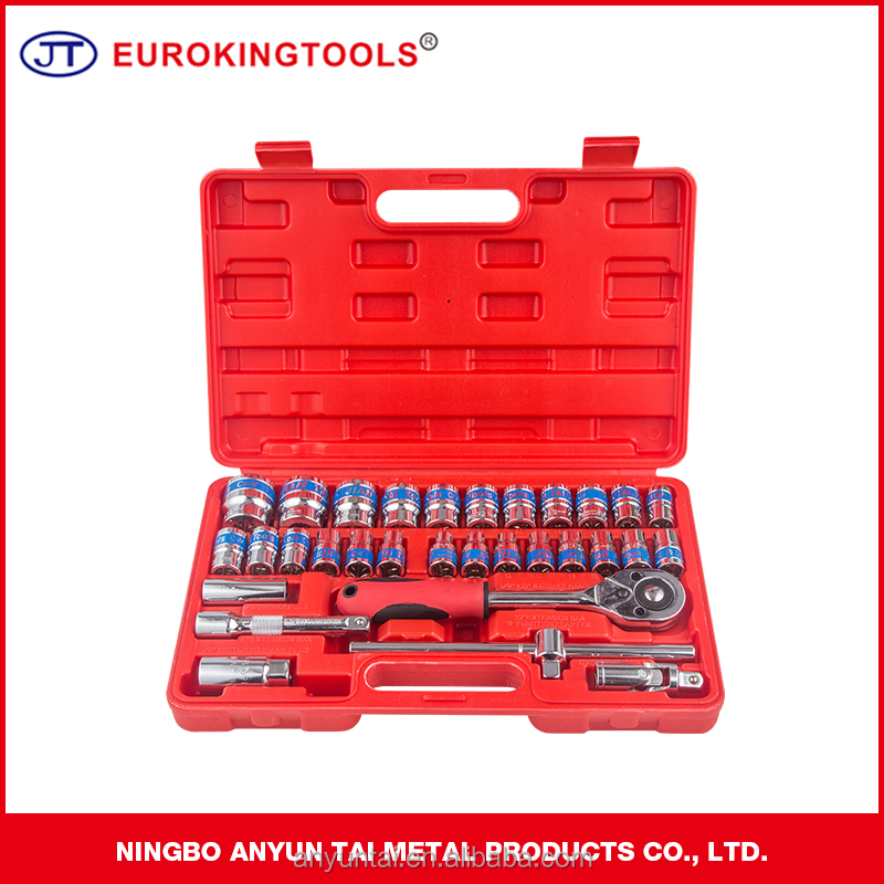 24T Ratchet Handle Extention Sliding T-Bar 32 pieces Bit Wrench Socket Set