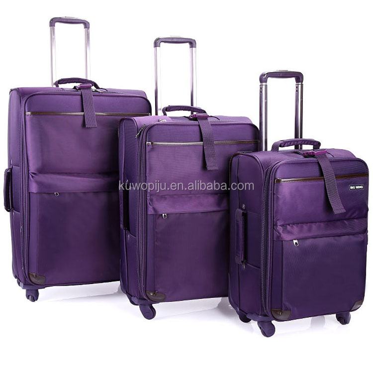new design purple spinner 4 wheels trolley travel car luggage and bags