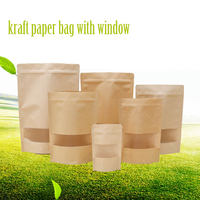 Hot-Selling kraft paper bag with window , ziplock stand up kraft paper bag, paper bag kraft food grade