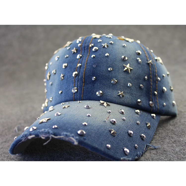 Rivet Five-pointed Star Rhinestone Worn-out Denim Baseball Hat Peaked Cap Metal 3D Pentacle Crystal Pattern Personalit Sun Hat