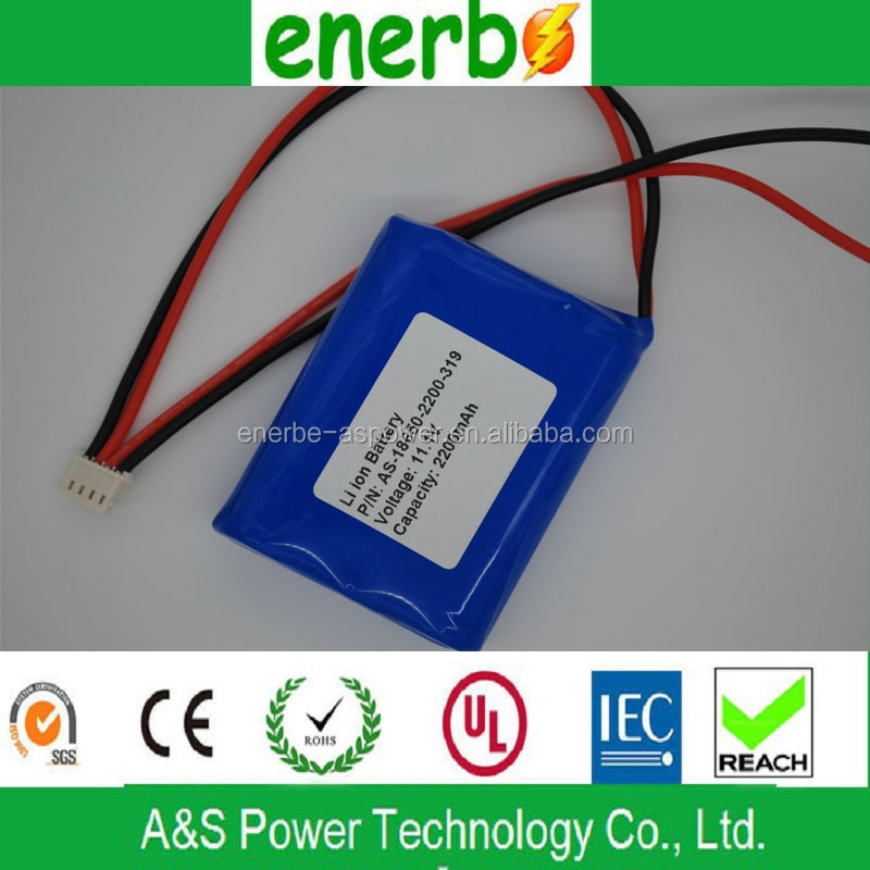 18650 rechargeable battery pack for portable DVD player li-ion rechargeable battery pack 11.1v 2200mAh