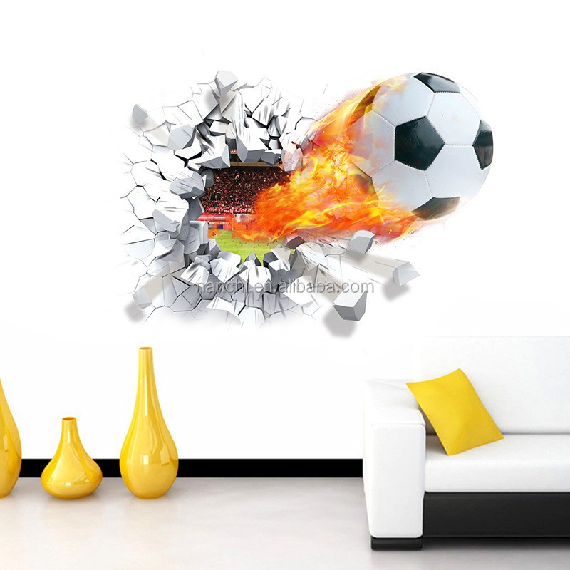 Amazing 3D Through Wall Football Wall Stickers Removable PVC Cartoon Sport Football Home Decor Mual Art Posters ZY1473
