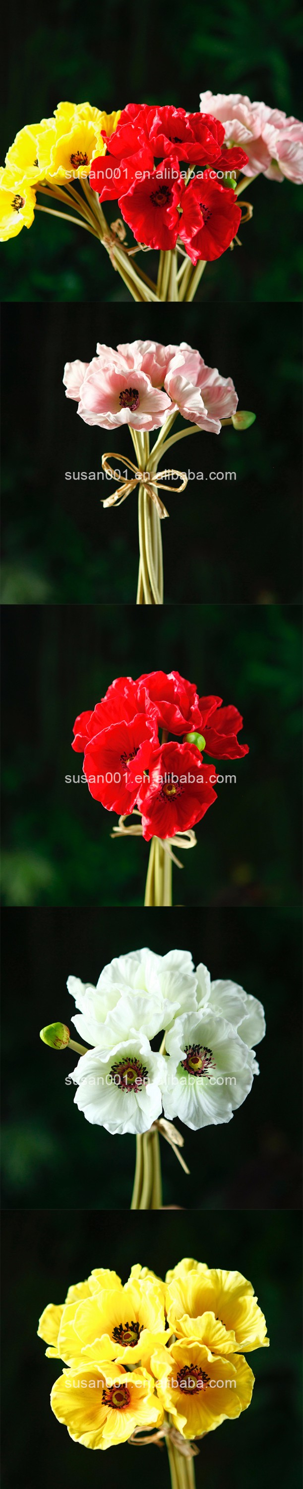 Pu Handmade Poppy Flower Latex Real Touch Decorative Artificial