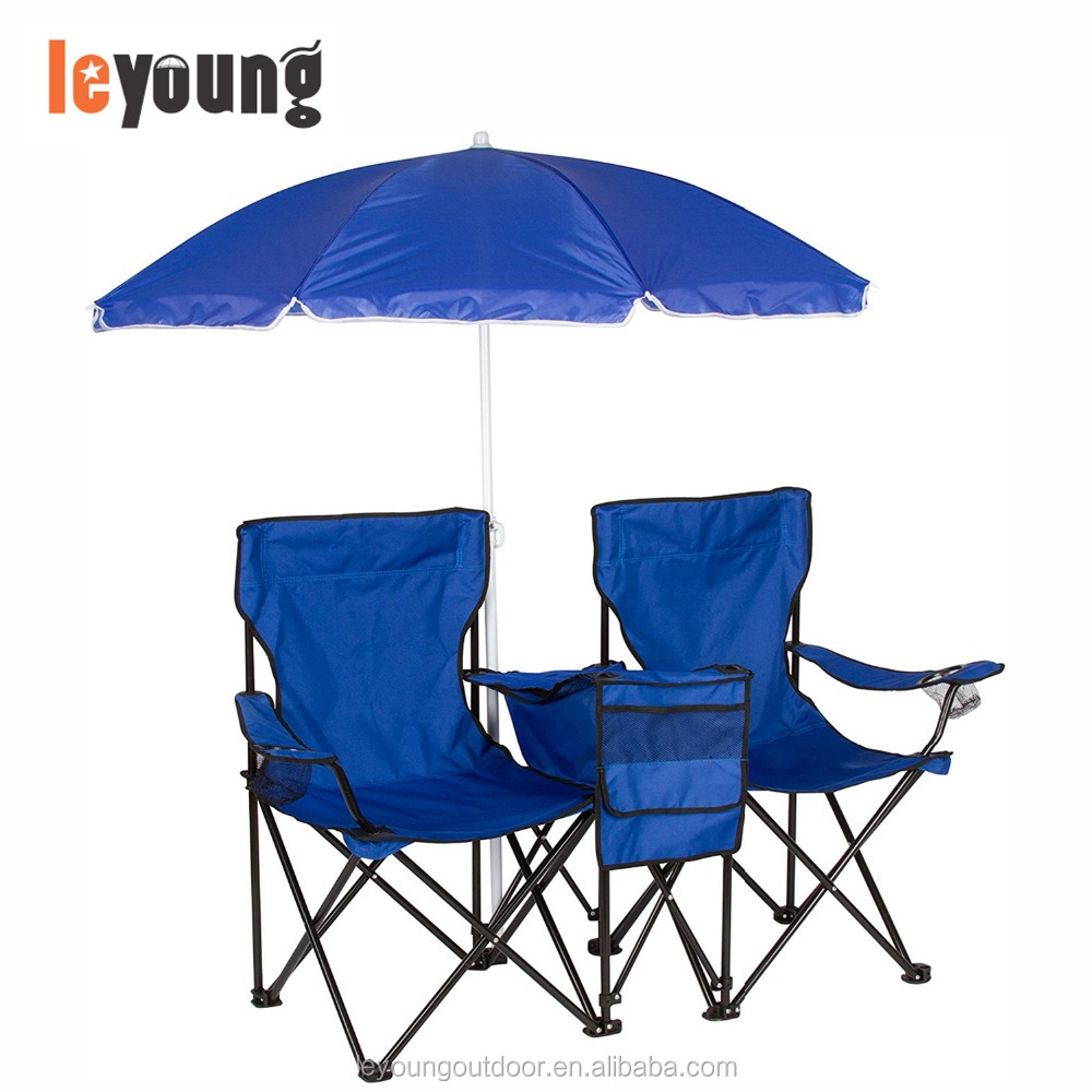 Picnic Double Folding Chair With Umbrella