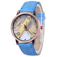 Stylish airplane designer gold dial fabric children watches cheap promotional wach custom