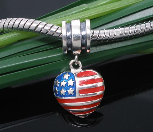 925 Sterling Silver American Flag Heart Charm Dangle Bead Fit European Charm 23x12mm