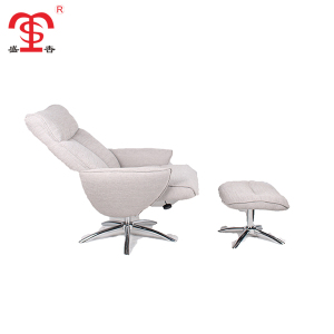 Modern grey leisure relax reclining chair with movable ottoman