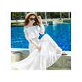 European style off-the-shoulder dress lace spliced beach maxi dress OEM supply