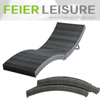 synthetic rattan folding aluminium sun lounger beach sun bed