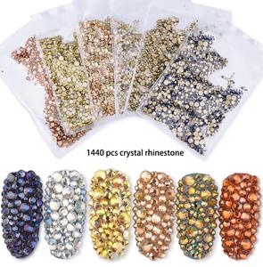 mixed colored nail art flatback glass stone flat bottom crystal nail decoration AB flat nail art decoration