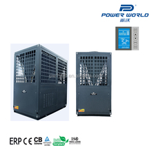 Power world commercial air water heat pump water cooling chiller and water heater system for house climate