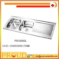 commercial double bowls stainless steel kitchen wash sink size 1500x500x170mm