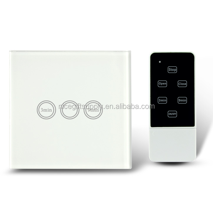 EU Type Remote Control Light Timer Switch RF 433Mhz Smart Home Touch Screen Time Delay Wall Switch 1 Gang 1 Way