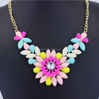 women Sun flouwer Resin Necklace European and American fashion pendant wholesale resin multi- chain super beautifu