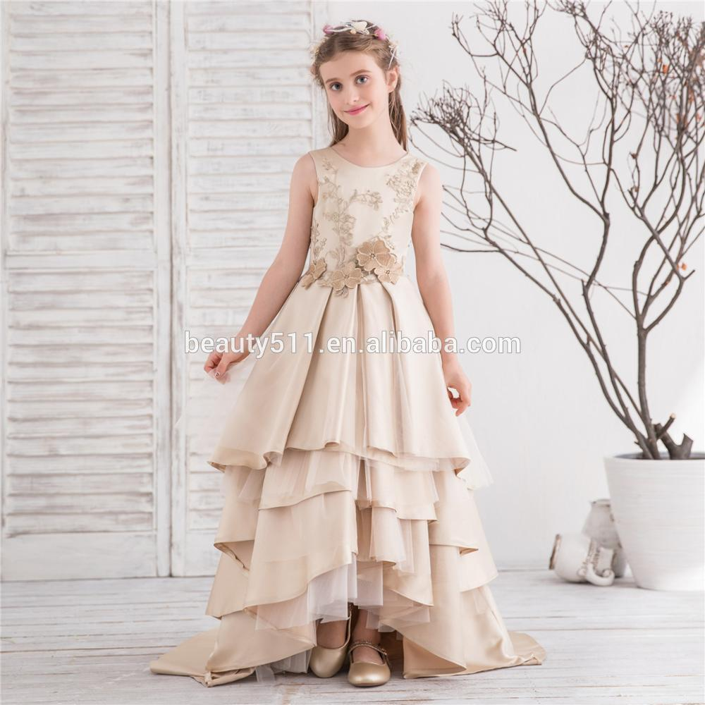2017 China Supplier Wholesale Children Party Girls Flower Baby Maxi Sleeveless party Dress Flower Girl Dresses f018