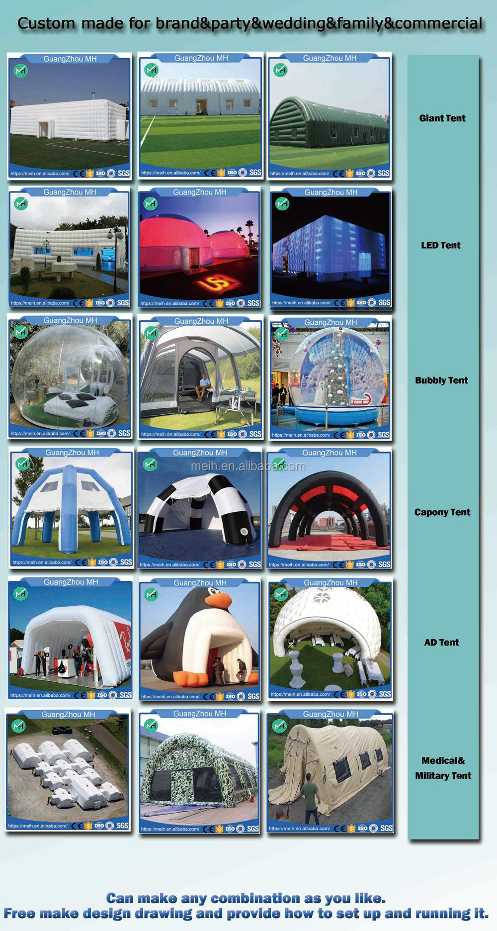 7x5x6meter professional supplier high quality inflatable tent house pvc for sale