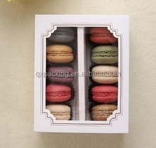 AA White Macaron box with transparent window dessert macarons pastry packaging boxes in 2 sizes