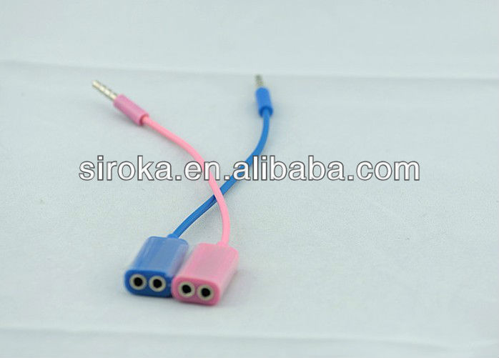 3.5mm 1 to 2 Audio headset splitter for iPod iPhone 4G 3G