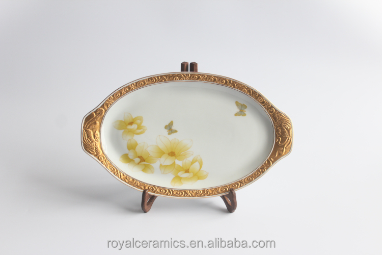 16 inch Luxury restaurant or home use gold painting porcelain fish plate