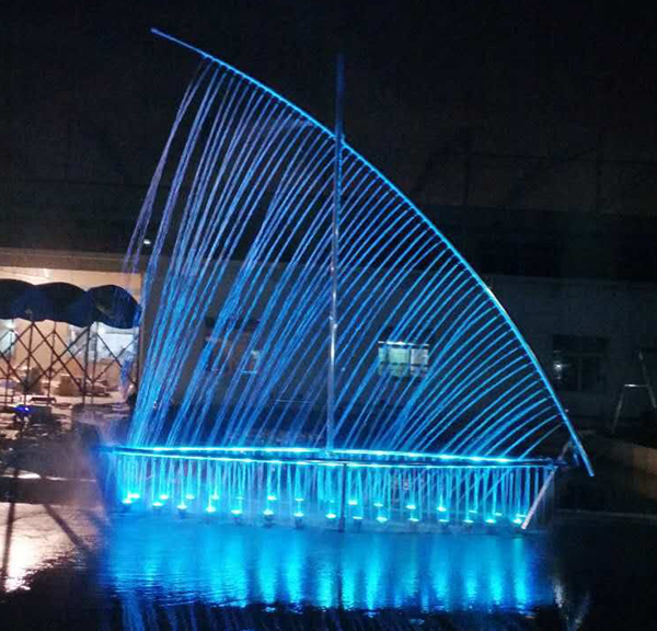 5m outdoor vessel shape led lights water fountain