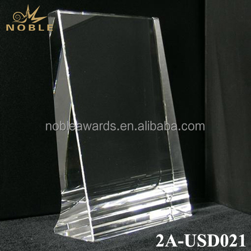 Cheap Custom Blank Vertical Frame Crystal Glass Trophy Award Plaque