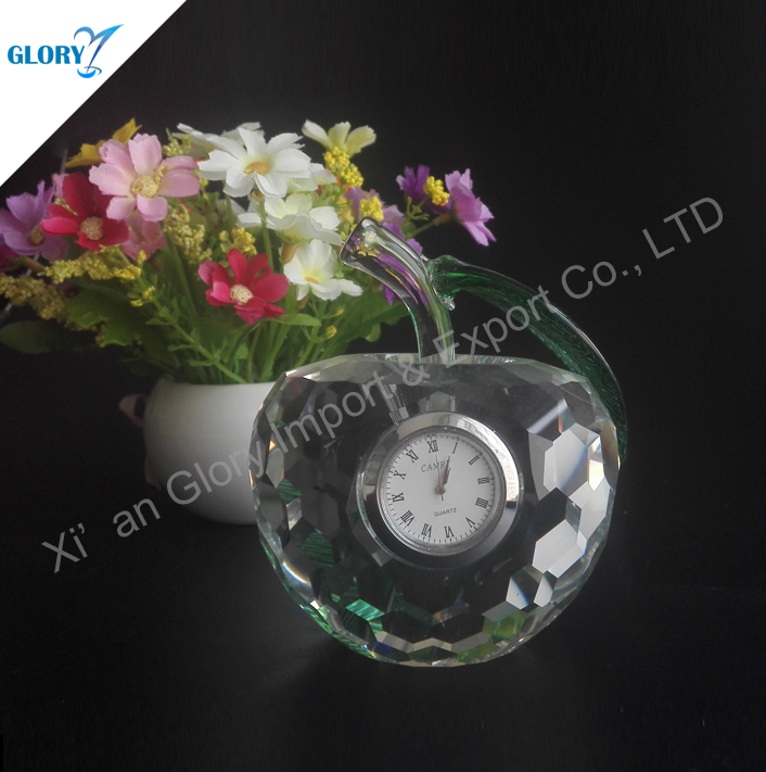 Lovely Apple Shape Clear K9 Crystal Desk Clock