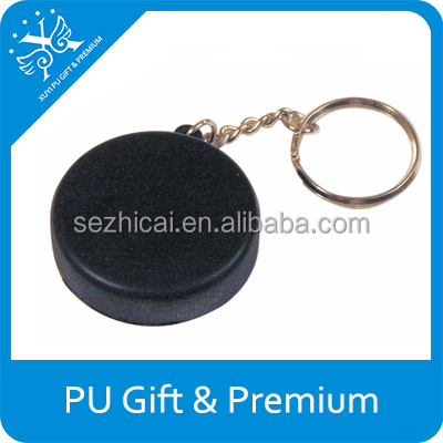 Hockey puck keyring pu kids toy mini hockey pucks pu stress ball keychain unique gift ideas