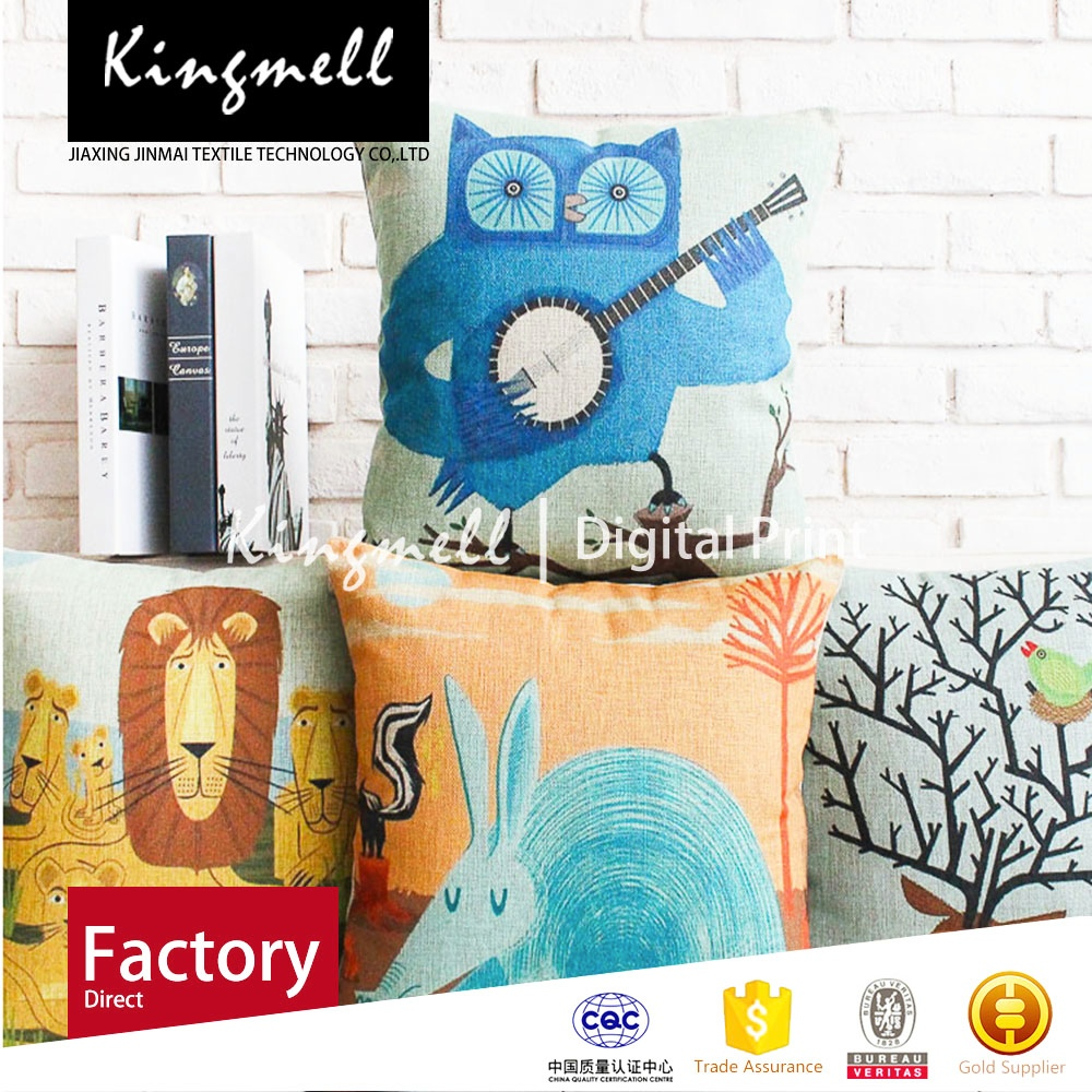 2015 High Quality Rural wind cartoon animals cotton and linen on the sofa cushion for leaning on of lovely create cushion cover